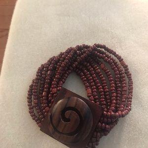 Jewelry - Wood design beaded stretch wrap bracelet
